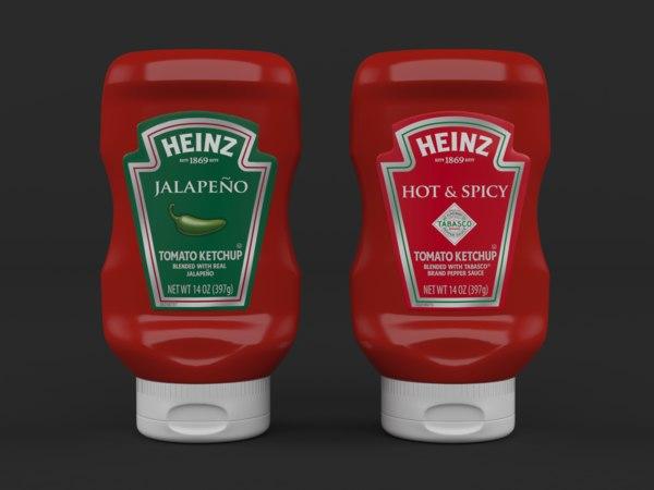 3D realistic ketchup bottles heinz model