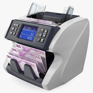 3D cash currency counter sorter model