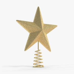 gold star tree topper 3D model