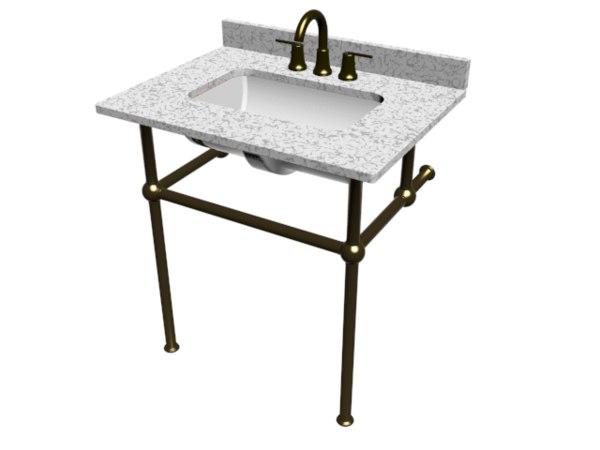 3D bathroom vanity brass basin
