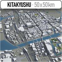 3D city kitakyushu surrounding -