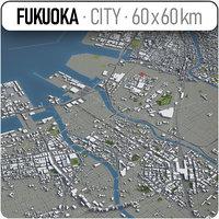 3D model fukuoka surrounding area -