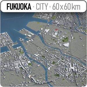 3D model fukuoka surrounding area -