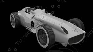 3D mercedes-benz w196r f1 model