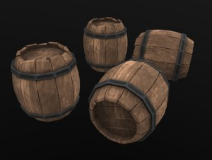 barrel stylized 3D model