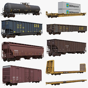 3D big railcars car rail model