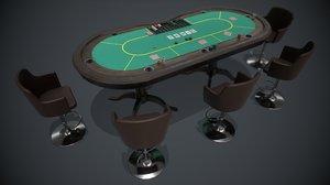 3D pbr poker table model