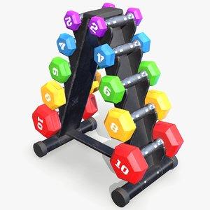ready dumbbell rack 3D model