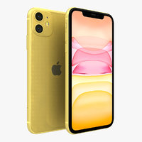3D apple iphone 11 yellow