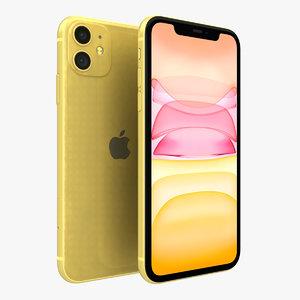 3D apple iphone 11 yellow