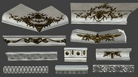3D 10 middle cornices pieces model
