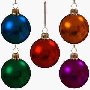 3D christmas balls set glossy model