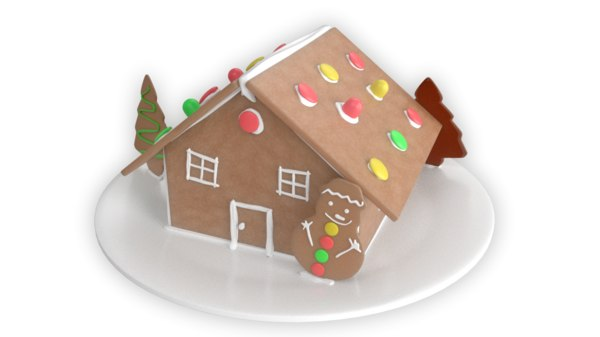 3D model gingerbread house