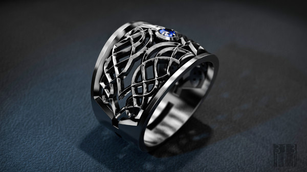 3D jewellery silver ring ornament
