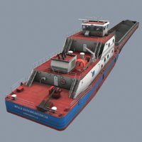 real-time pusher boat barge 3D model