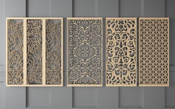 wooden patterned frames partition 3D model