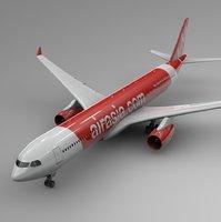 3D airbus a330-300 air asia