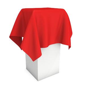3D model presentation pedestal covered red