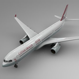 3D airbus a330-300 cathay dragon model