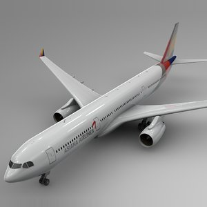 3D model airbus a330-300 asiana airlines