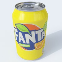 3D model softdrink fanta lemon