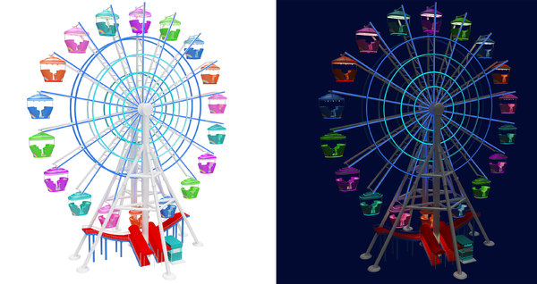ferris wheel day night 3D model