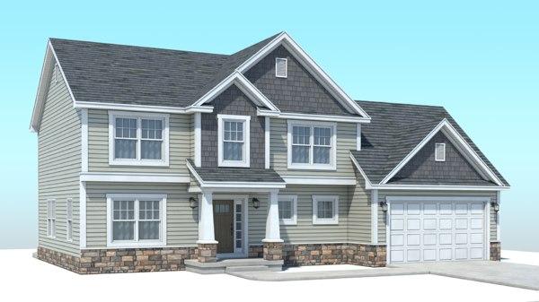 3D classic american house model