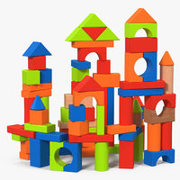 castle wooden building block 3D model