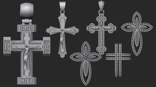jewellery crosses 3D model