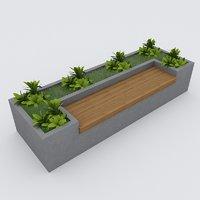 3D street bench modern seat