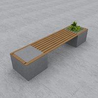3D street bench modern seat model