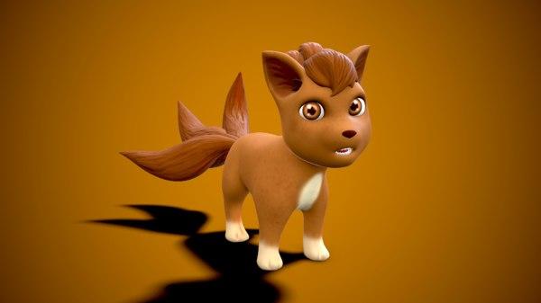 fox cartoon brown 3D model