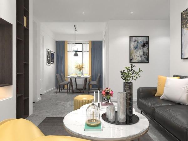 3D model bedroom living room dining