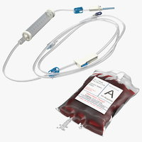 iv blood bag rolled 3D model