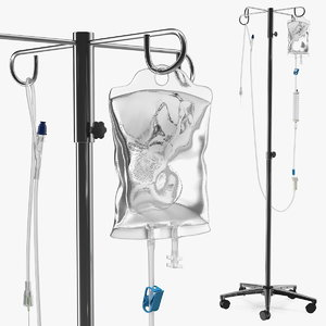 3D iv fluid solution bag