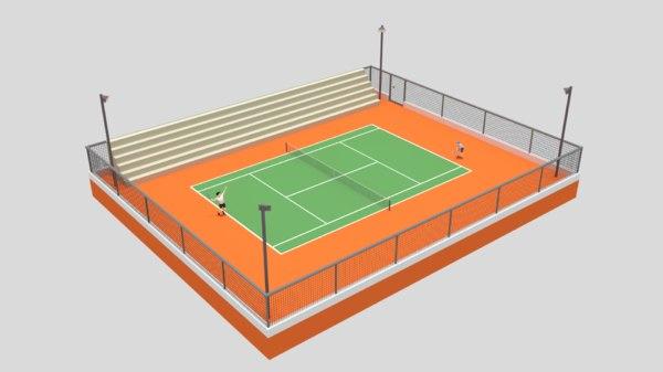 3D cartoon tennis court scene