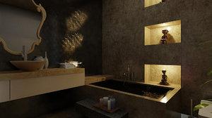 3D model luxury bathroom scene