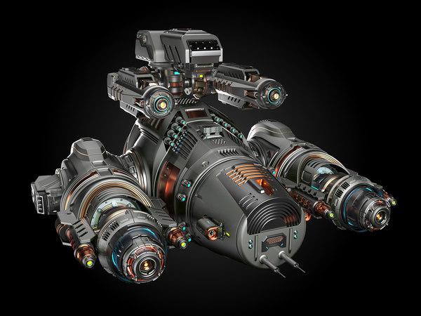 3D model sci fi battleship rigged