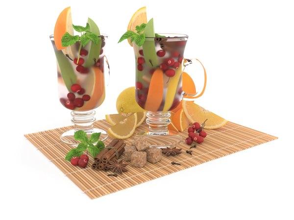 3D model still-life fresh fruit cocktails