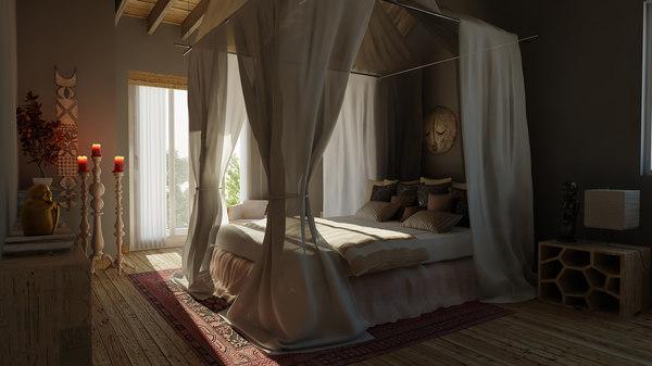 3D luxury classic bedroom scene
