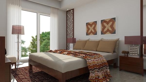 3D classic bedroom scene