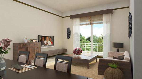 3D classic livingroom scene