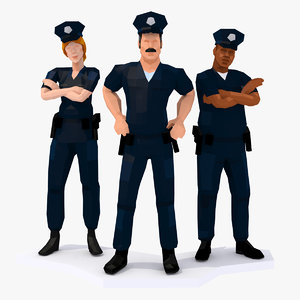 police cops policeman characters rigged model