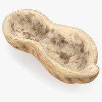 3D peanut peel nut model