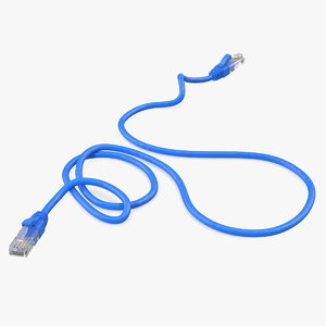 3D rj45 cable blue