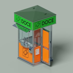 3D model information tickets kiosk street
