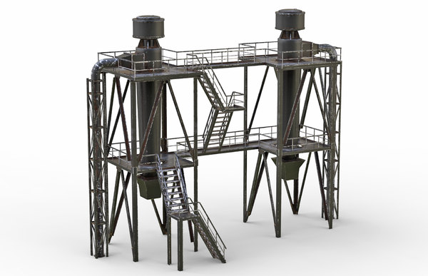 3D old industrial ventilation model