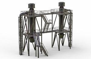 3D old industrial ventilation model