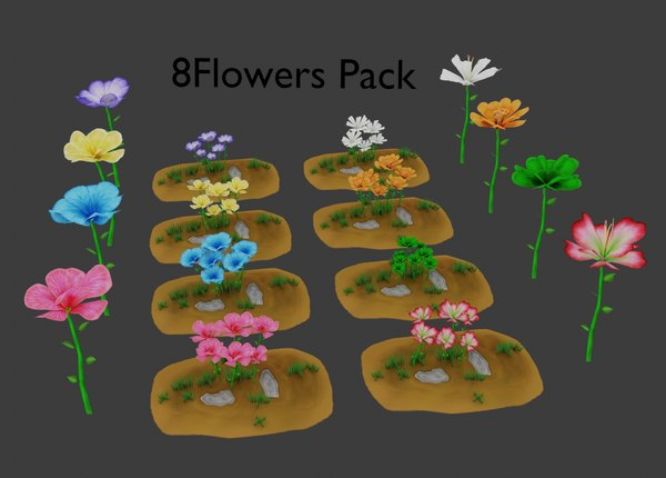 3D flower stylized pack model