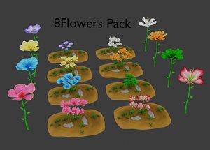 3D flower stylized pack model